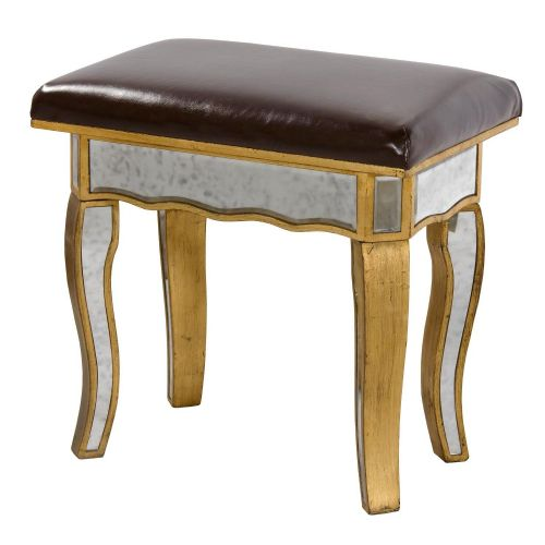 Vintage Antique Gold Mirrored Venezia Stool